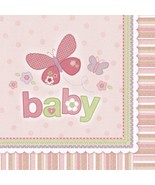Carter's Baby Girl Little Butterfly Pink Baby Shower Party Luncheon Napkins - $9.17