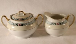 Vintage MEITO Japan Hand Painted Creamer & Covered Sugar #508 - $40.00