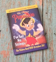 Disney's Pinocchio Pin Button 60th Anniversary Promotional Movie Ad - $9.89