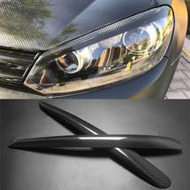 Carbon Fiber Car Headlight Cover Eyebrows Eyelid Trim Fit For VW Golf 6 ... - $69.29