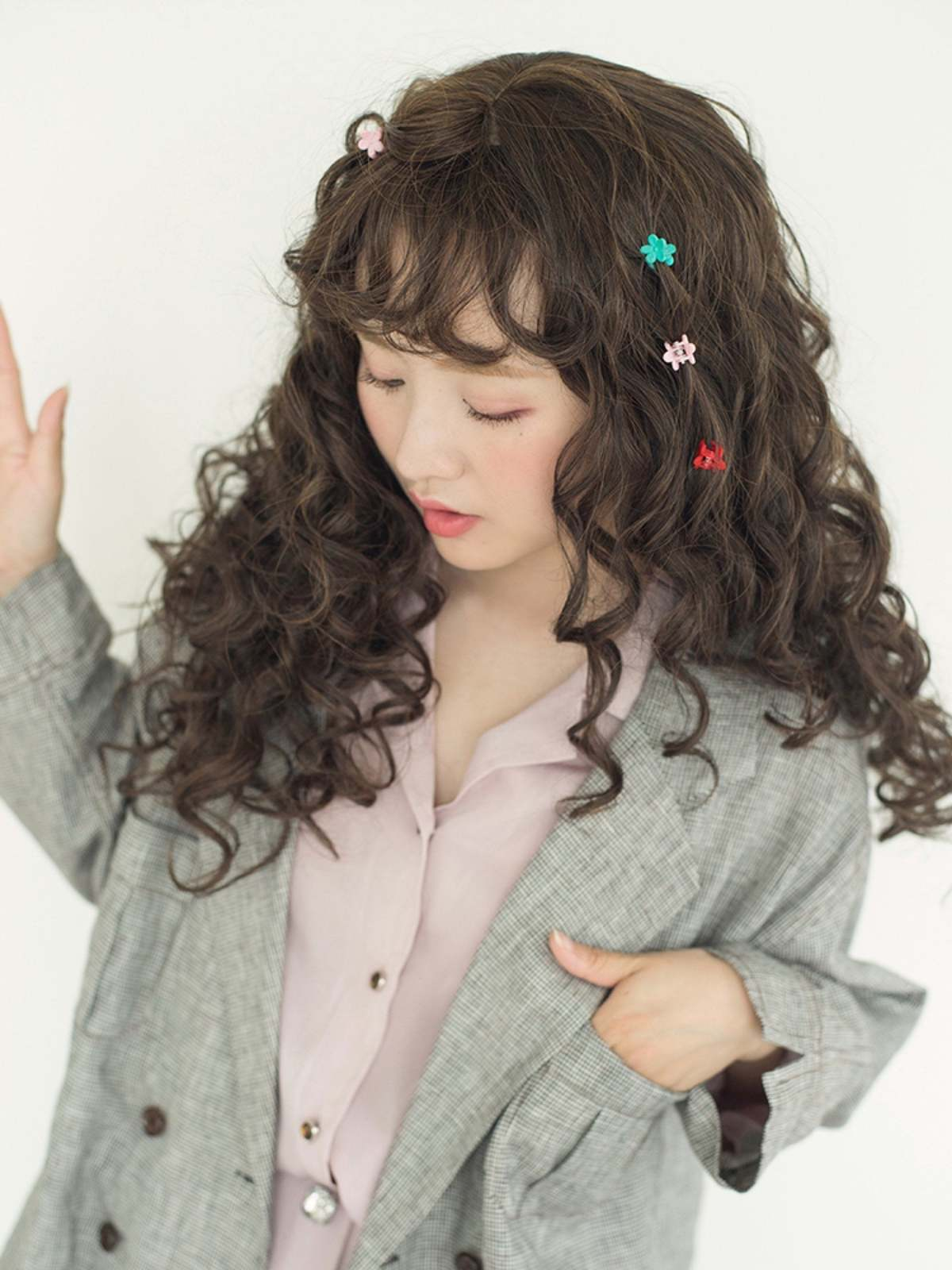 Brunette Cute & fluffy curly long wig Girly cosplay lolita ...