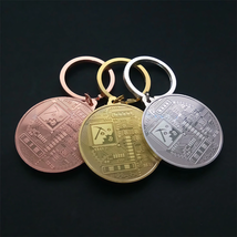 Gold Plated Bitcoin Coin Key Chain BTC Coin Art Collection Design Key Ring Gift image 3