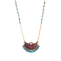 Chain Ethnic Long Pendant Necklace Floral Beads Charm Necklace Women Jew... - $10.17