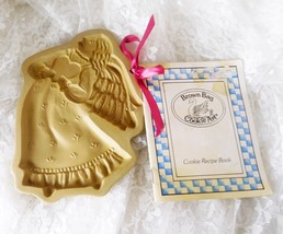 """Brown Bag Cookie Art Earthenware Cookie/Craft Mold - 1987 Country Angel 7"""" x 5"""" - $11.29"""
