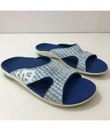 SPENCO Kholo Sandals Blue White Daisy Slides Womens Size 7W - $52.42