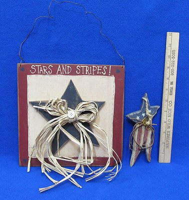 Patriotic Wood Stars & Stripes Plaque Wall & Ornament Primitive Country Lot Of 2