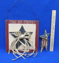 Patriotic Wood Stars & Stripes Plaque Wall & Ornament Primitive Country ... - $14.10