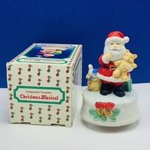 Christmas Music Box Santa Claus figurine decor holiday box Jingle Bells ... - $28.86