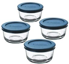 Anchor Hocking 1-Cup Round, Glass Food Storage Containers with Plastic Lids - $19.99
