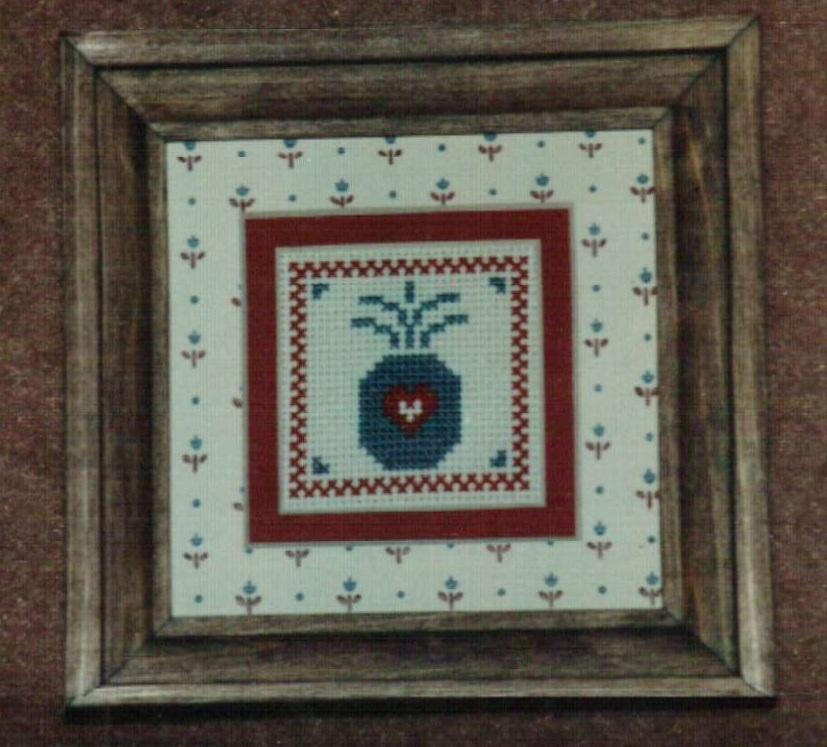 Mini Pineapple Ornamat cross stitch chart with double mat Dunfield Inc 4x4