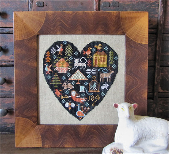Primary image for Black Heart Sampler cross stitch chart Kathy Barrick Designs