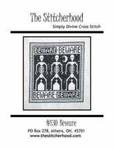 Beware halloween skeleton primitive cross stitch chart The Stitcherhood - $8.10