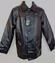 A Collezioni Men's Black Vegan Leather Italian Jacket Size L NEW ~ WOW! - $36.62