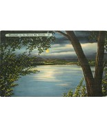 Linen NM H413 Moonlight on the Silvery Rio Grande River Full Moon Cancel... - $6.93