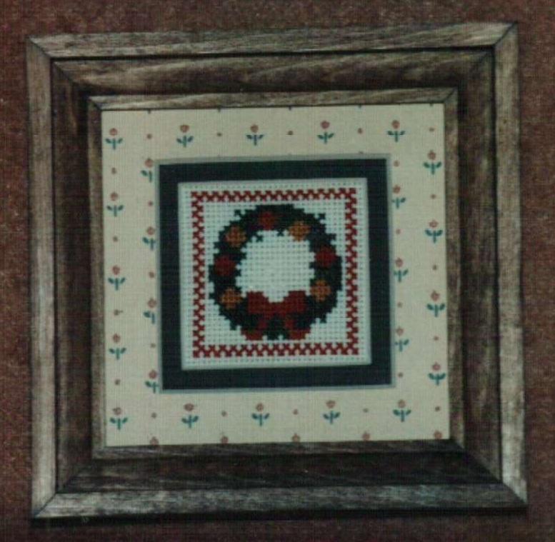 Mini Xmas Wreath Ornamat cross stitch chart with double mat Dunfield Inc 4x4