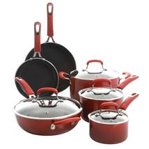 Kenmore Elite Andover 10 Piece Nonstick Aluminum Cookware Set in Red Gra... - $212.65
