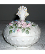 Lefton China Powder Box  #842 Intricately detailed flowers - $16.00