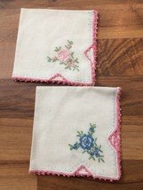 Vintage White Hankies Pink Crocheted Lace Edge Trim & Pink and Blue Flowers - $11.30