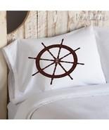 Two (2) Brown Ship's Wheel Nautical Pillowcases - $19.99