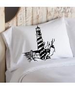 Two (2) Black Striped Lighthouse Nautical Pillowcases - $19.99
