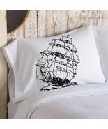 Two (2) Black Clipper Sail Ship boat Nautical Pillowcases - $19.99