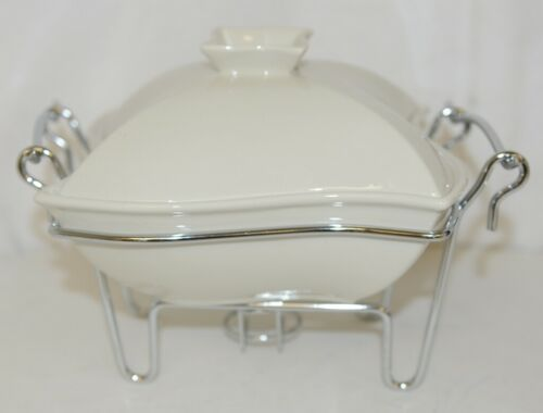 Godinger 6322 Siena One Quart Covered Porcelain Baker With Serving Rack