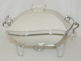 Godinger 6322 Siena One Quart Covered Porcelain Baker With Serving Rack image 1