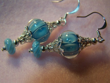 Blue lampwork glass dangle earrings 1 3/4inch silver