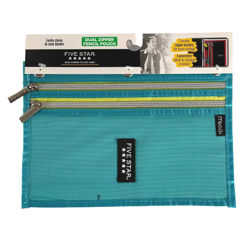 Mead Five Star Turquoise Dual Zipper 3 Ring Binder Pencil Pouch School Supplies
