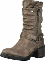 Carlos by Carlos Santana Women Moto Boots Georgina Size US 8.5M Taupe Fabric - $51.50