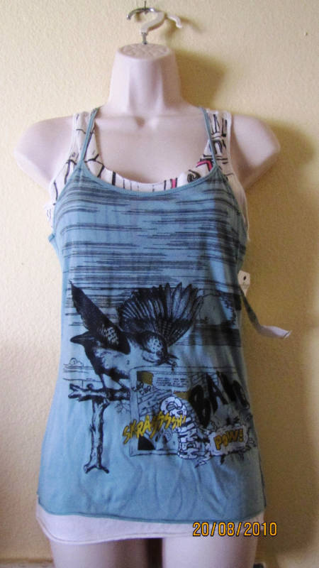 NWT DRIFTER FASHION GRAPHIC DOUBLE LAYER TANK TOP,SZ S