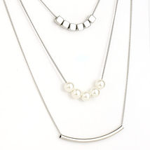 UE- Unique Multi-Strand Silver Tone Necklace with Bar & Faux Pearl Design  - £14.44 GBP