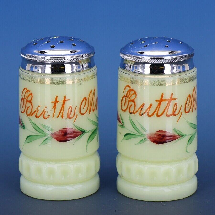Antique c.1900 EAPG Heisey Custard Glass Souvenir of Butte Montana Shakers