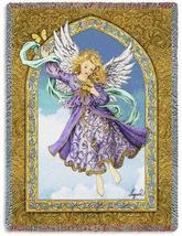 70x54 Lavender ANGEL Religious Tapestry Afghan Throw Blanket  - $60.00