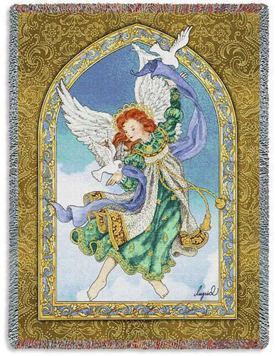 Primary image for 70x54 Peaceful ANGEL with Doves Religious Tapestry Afghan Throw Blanket