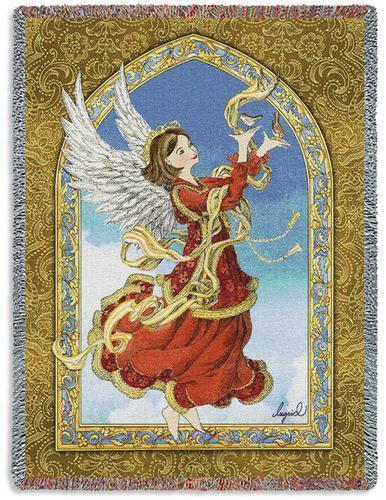 Primary image for 70x54 Crimson Red ANGEL Religious Tapestry Afghan Throw Blanket