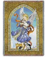 70x54 ANGEL with CATS Religious Tapestry Afghan Throw Blanket  - $60.00