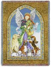 70x54 ANGEL & Dogs Religious Tapestry Afghan Throw Blanket  - $60.00