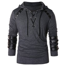 Faux Leather Lace Up Hoodie(DARK GRAY S) - $25.43
