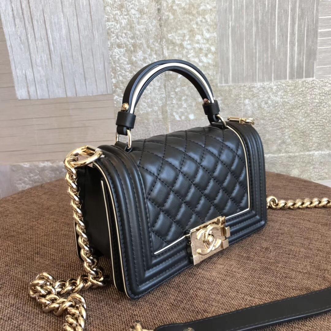 BNIB AUTHENTIC 2019 CHANEL BLACK Limited Edition Top Handle Medium Boy Flap Bag