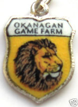 OKANAGAN BC CANADA LION Vintage Travel Shield Charm - $24.95