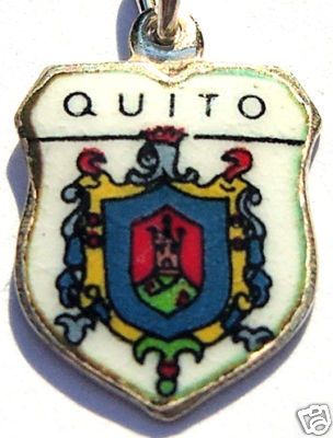 QUITO, ECUADOR COAT of ARMS Silver Travel Shield Charm