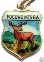 POCONO MTS PENNSYLVANIA DEER Silver Travel Shield Charm - $24.95