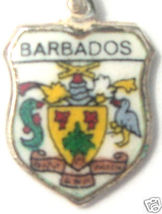 BARBADOS ISLAND Coat of Arms Silver Travel Shield Charm - $29.95