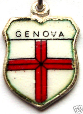 GENOVA, ITALY Genoa Flag - Silver Travel Shield Charm