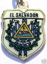 EL SALVADOR COAT of ARMS Vintage Travel Shield Charm - $24.95