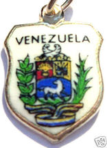 VENEZUELA COAT of ARM Silver Enamel Travel Shield Charm - $24.95