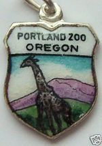 PORTLAND,OREGON ZOO GIRAFFE Enamel Travel Shield Charm - $24.95