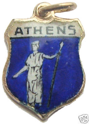 GREECE ATHENA Athens Enaml Travel Shield BRACELET Charm