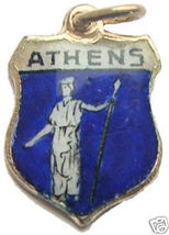 GREECE ATHENA Athens Enaml Travel Shield BRACELET Charm - $24.95